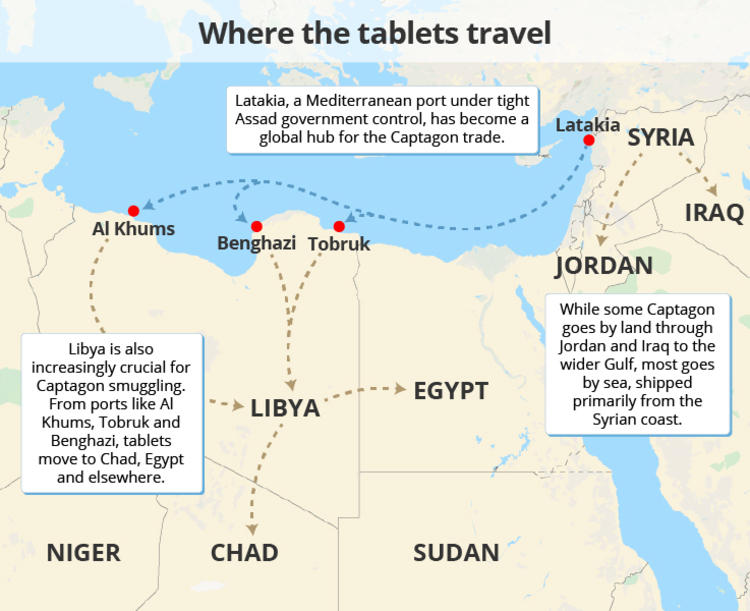 Graphic showing where the Captagon tablets travelled