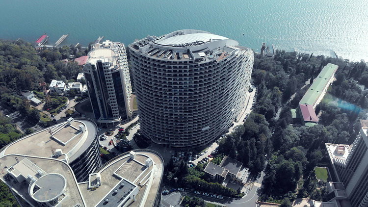 An aerial view of the building where Polyakova owns an apartment